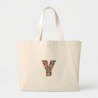 Jewel Stones Studded Alpha Y initial ID birthday Large Tote Bag