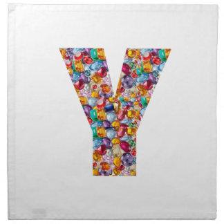 Jewel Stones Studded Alpha Y initial ID birthday Cloth Napkin