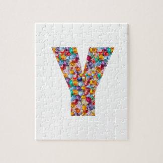 Jewel Stones Studded Alpha Y initial ID birthday Jigsaw Puzzles