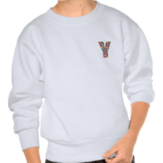 Jewel Stones Studded Alpha Y initial ID birthday Pull Over Sweatshirts