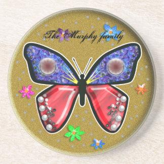 jewel tone butterfly drink coaster