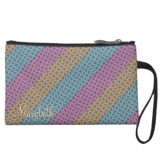 Jewel Tone Doodles with Name Suede Wristlet