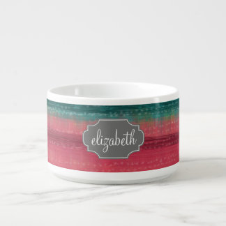 Jewel Tone Watercolor Stripes Custom Name Bowl