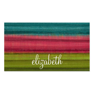 Jewel Tone Watercolor Stripes Custom Name Business Card