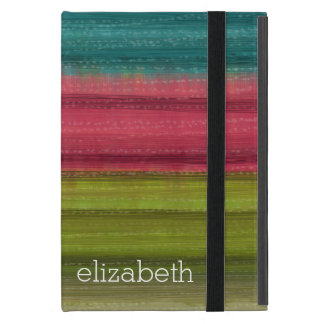 Jewel Tone Watercolor Stripes Custom Name iPad Mini Cases