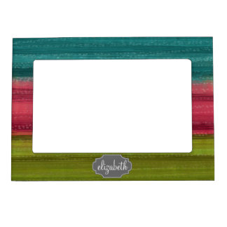 Jewel Tone Watercolor Stripes Custom Name Magnetic Picture Frame
