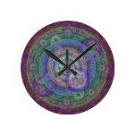 Jewel Toned Fractal Round Clock