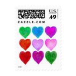Jewel Toned Hearts Postage