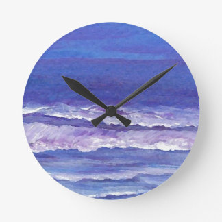 Jewel toned sunset ocean waves seascape gifts round clock