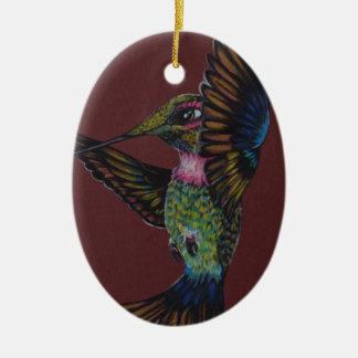 Jewel toned sword billed hummingbird ceramic ornament