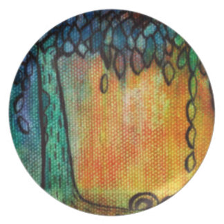 Jewel Tree and Leaves Plateware Plate