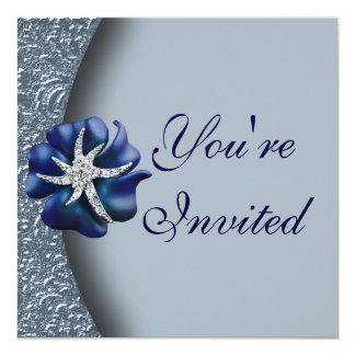 Jeweled Blue Flower Party Invitation