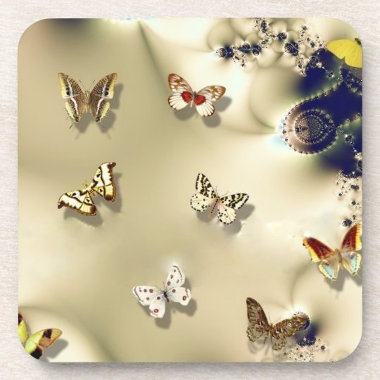 Jeweled Butterflies Beverage Coaster
