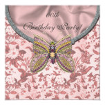 Jeweled Butterfly Birthday Party Invitations