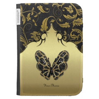 Jeweled Butterfly Damask - Customize Kindle 3 Cases