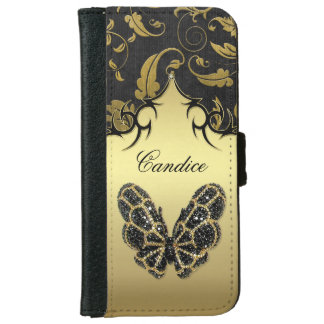 Jeweled Butterfly Damask -  iPhone 6 Wallet Phone Case For iPhone 6/6s