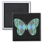Jeweled Butterfly glass effect 2 Inch Square Magnet