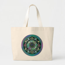 Jeweled Celtic Fractal Mandala Canvas Bags