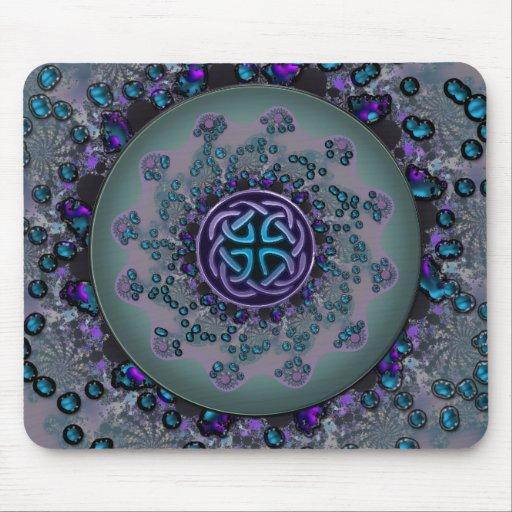 Jeweled Celtic Fractal Mandala Mouse Pad