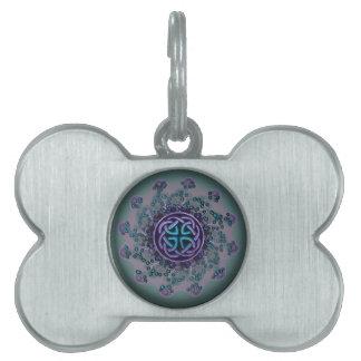 Jeweled Celtic Fractal Mandala Pet ID Tag