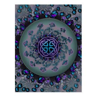 Jeweled Celtic Fractal Mandala Post Card