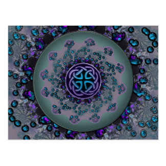 Jeweled Celtic Fractal Mandala Postcard