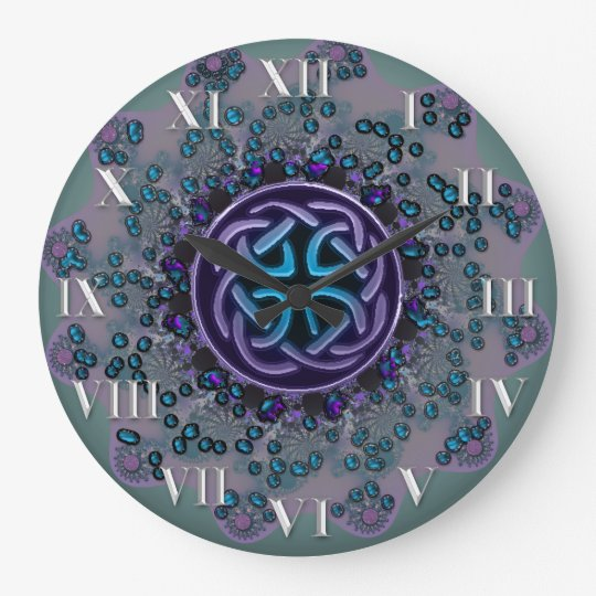 Jeweled Celtic Fractal Mandala Wallclocks