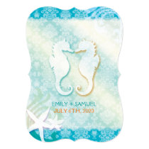 Jeweled Damask   Sea Horse Starfish Beach Wedding Card