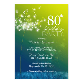 Jeweled Dandelion 80th Birthday Party Card