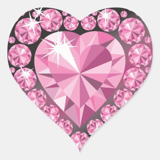 Jeweled Diamond Heart Shaped Sticker