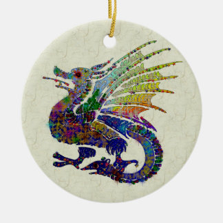 Jeweled Dragon Ceramic Ornament