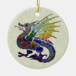 Jeweled Dragon Double-Sided Ceramic Round Christmas Ornament