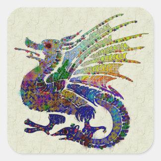 Jeweled Dragon Square Sticker