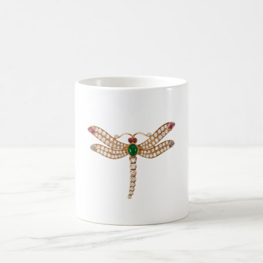 Jeweled Dragonfly Art Coffee Mugs
