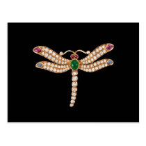 Jeweled Dragonfly Art Postcard