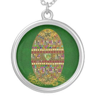 Jeweled Easter Egg Round Pendant Necklace