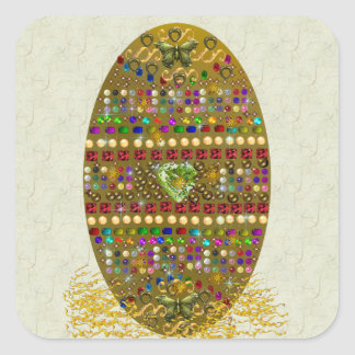 Jeweled Easter Egg Square Sticker