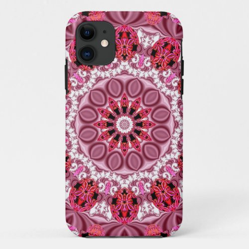 Jeweled Fans, Abstract Lace Candy, Red Pink Rose iPhone 11 Case