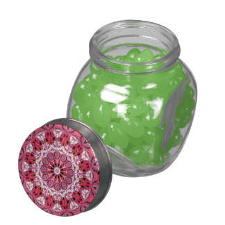 Jeweled Fans, Abstract Lace Candy, Red Pink Rose Glass Candy Jar