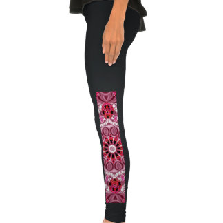 Jeweled Fans, Abstract Lace Candy, Red Pink Rose Legging Tights