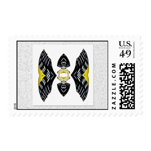 Jeweled Fantasy Butterfly Yellow Black Abstract Stamp