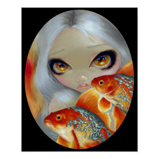 Jeweled Fish:  Silver and Gold ART PRINT goldfish
