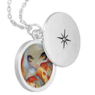 """""""Jeweled Fish:  Silver and Gold"""" Locket"""