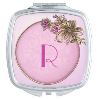 Jeweled Floral Pink Monogram Compact Mirror