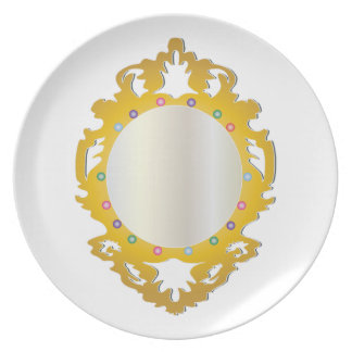 Jeweled Framed Mirror Party Plates