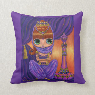 Jeweled Genie Girl in Purple with Magic Bottle Throw Pillow