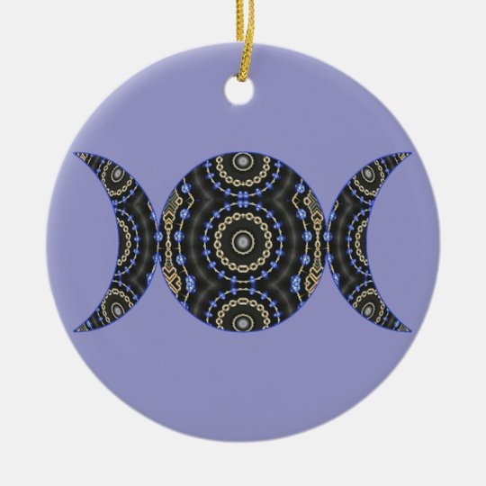 Jeweled Goddess Triple Moon Ceramic Ornament