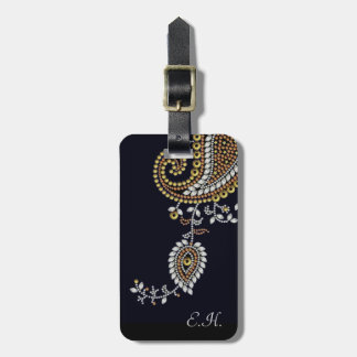 Jeweled Gold Silver Paisley Luggage Tags