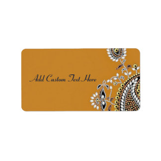 Jeweled Gold Silver Paisley Wedding or Business Label