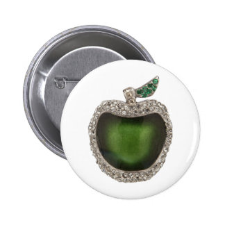Jeweled Green Apple Button
